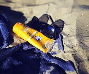 Suntan Lotion and Sunglasses